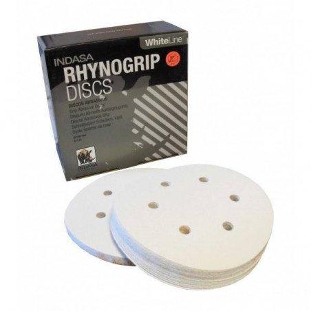 Krążek biały RHYNOGRIP na rzep Indasa 150mm 6otw. P400
