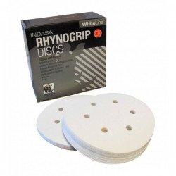 Krążek biały RHYNOGRIP na rzep Indasa 150mm 6otw. P180